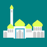 Mosque at Day Light. A white mosque with golden top vector illustration