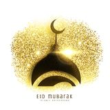 Mosque design on golden glitter, eid mubarak greeting background. Vector vector illustration