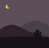 Mosque in dessert. Background of a mosque in a night dessert with a moon. Well layered vector .ai10 file with transparency effect for the moon (opacity 90 Royalty Free Stock Photos