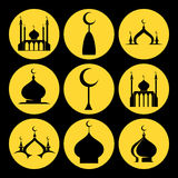 Mosque dome icons set Stock Image