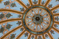 Mosque dome interior bottom view. Royalty Free Stock Image