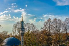 A mosque dome and its minaret in front of a grove with fallen re Royalty Free Stock Images