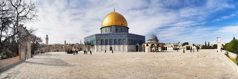 Mosque Dome of the Rock, Jerusalem. Panorama of the Temple Mount in Jerusalem. Mosque Dome of the Rock Royalty Free Stock Images