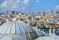 Mosque domes and Galata Tower. Domes of mosque in Historic Areas of Istanbul and Galata Tower in Karakoy Stock Photography