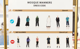 Mosque dress code sign Stock Images