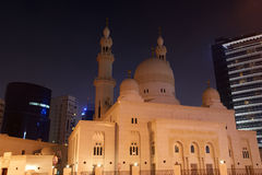 Mosque in Dubai at night, UAE Royalty Free Stock Images