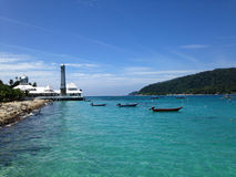 Mosque on the edge of Sea with crystal clear tropical waters. Malaysia Royalty Free Stock Photography
