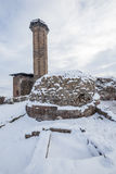 The Mosque Ef Ebu`l Manucehr and the tomb the mosque Manucehr, A. Ni Ulu Mosque in Ani ancient city, Kars, Turkey. Ani is a ruined medieval Armenian city now Royalty Free Stock Photo