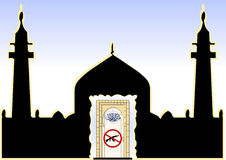 Mosque entrance prohibited weapon Stock Image