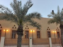 Mosque exterior with different windows , palm trees at dusk royalty free stock images