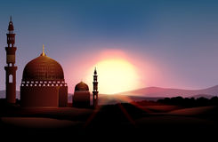 Mosque on the field at sunset. Illustration Royalty Free Stock Photo