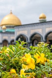 Mosque. With Flowers in Garden Bandar Royalty Free Stock Photography
