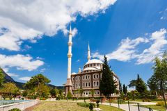 Mosque in Goynuk, Turkey. View of big mosque in the town at spring time Stock Images