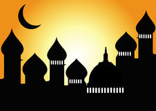 Mosque with half moon Stock Image