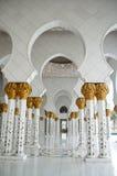 Mosque Hall in Abu Dhabi. Corridor in Sheikh Zayed Bin Sultan in Abu Dhabi,United Arab Emirates Stock Image
