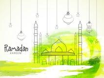 Mosque with hanging lanterns for Ramadan Kareem. Royalty Free Stock Image