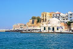 Mosque in the harbour, Chania. Royalty Free Stock Image