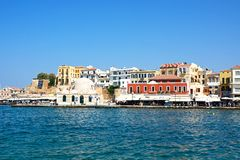 Mosque in the harbour, Chania. Stock Image