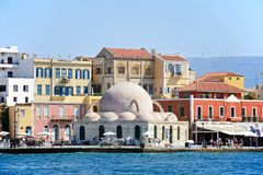 Mosque in the harbour, Chania. Royalty Free Stock Photography