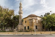 Mosque in harbour of old town Rhodes, Greece Stock Photo