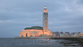 Mosque of Hassan II at night, Casablanca Royalty Free Stock Images