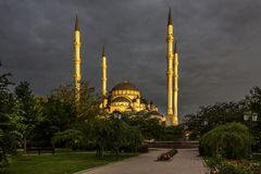 Mosque `Heart of Chechnya` at dawn royalty free stock image