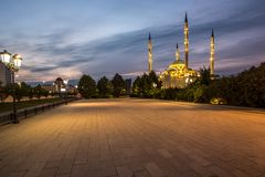 Mosque `Heart of Chechnya` at sunset royalty free stock photo