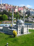 Mosque with high minarets in the park Miniaturk in Istanbul, Turkey Royalty Free Stock Photo
