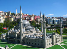 Mosque with high minarets in the park Miniaturk in Istanbul, Turkey Royalty Free Stock Photography