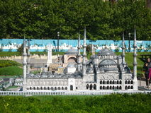 Mosque with high minarets in the park Miniaturk in Istanbul, Turkey Stock Images