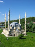 Mosque with high minarets in the park Miniaturk in Istanbul, Turkey Royalty Free Stock Photos