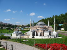 Mosque with high minarets in the park Miniaturk in Istanbul, Turkey Royalty Free Stock Images