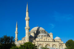 Mosque with high minarets in Turkey Royalty Free Stock Photography