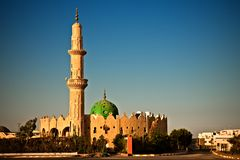 Mosque in Hurghada, Egypt. Mosque in sunset light, Hurghada, Egypt Stock Photo