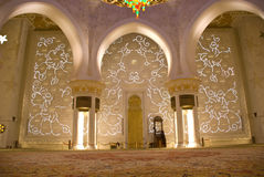 Mosque from inside. Showing the columns and interior design and decorations of the walls Royalty Free Stock Image