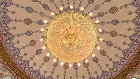 Mosque interior with chandelier stock video