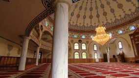 Mosque interior with chandelier stock footage