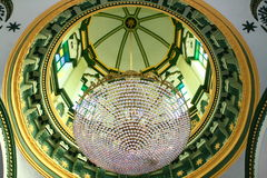 Mosque Interior with Crystal Lamps Stock Photos