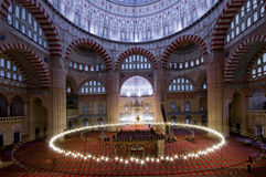 Mosque interior with lights Royalty Free Stock Photo