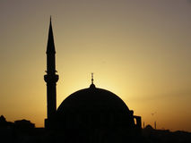 Mosque at Istanbul. One of mosques in Istanbul, Turkey at evening sun royalty free stock images