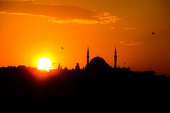 Mosque in Istanbul at sunset Royalty Free Stock Image