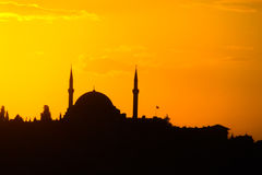 Mosque in Istanbul at sunset Stock Images