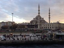 Mosque. Istanbul turkey evening croud Royalty Free Stock Images