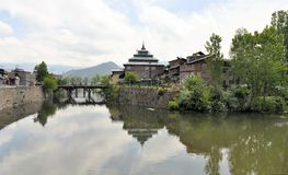 Mosque at Jahelum river in Srinagar, Kashmir Royalty Free Stock Photo