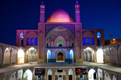 A mosque in Kashan, Iran. A night view of a mosque in Kashan, old Persian city stock photo