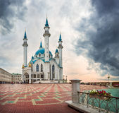 The mosque of the Kazan Kremlin. Mosque Kazan Kremlin Kul Sharif under dark clouds Royalty Free Stock Photography