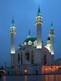 Mosque Kul Sharif at evening illumination. The mosque is located in the city of Kazan of the Russian Federation. Night scenes Stock Photo