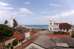 Mosque and lighthouse in Fort Galle Stock Photo