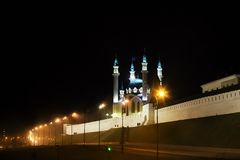 Russia, Kazan, may 1, 2018, Mosque in the lights of the night city, editorial royalty free stock image