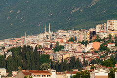 Mosque and many houses in Bursa Royalty Free Stock Images